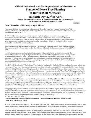 peace week official invitation letter to Chancellor of Germany Angela Merkel for Symbol of Peace tree planting at Berlin Wall-page-001